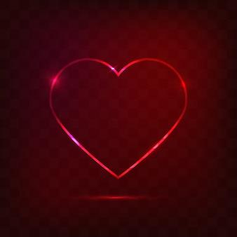 Neonowy serce znak, miłości pojęcie