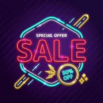 Neonowy specjalny znak sprzedaży