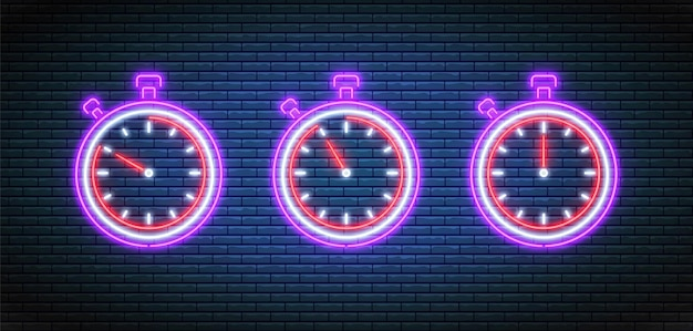 Neonowy stoper. timery z minutami. ustawiony minutnik.