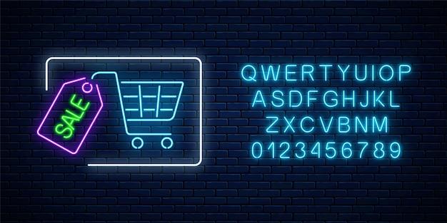 Neonowy świecący znak sprzedaży z koszykiem i tag z alfabetem na ciemnym tle ceglanego muru. świecący szyld reklamowy. transparent neonowy rabat na duży sezon.