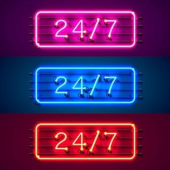 Neonowy szyld 24 7 zestaw kolorów czasu otwartego. ilustracja wektorowa