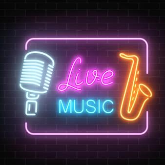 Neonowy szyld klubu nocnego z muzyką na żywo. świecące znak ulicy bar z karaoke. ikona kawiarni dźwięku z ramą.