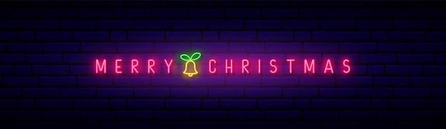 Neonowy szyld wesołych świąt