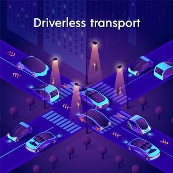 Neonowy transport bez kierowcy. autonomiczne inteligentne samochody