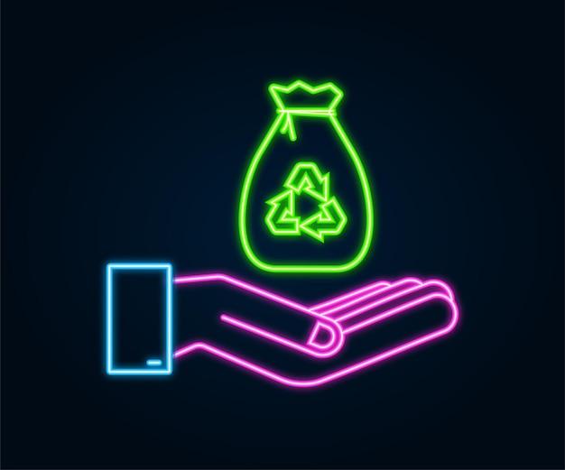 Neonowy worek na śmieci w ręce ikona. worek na śmieci. czas ilustracja wektorowa.