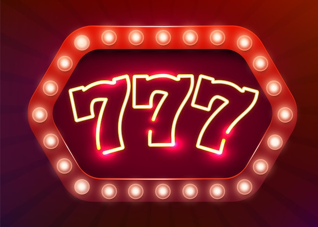Neonowy znak 777 slotów. neonowy szyld kasyna.