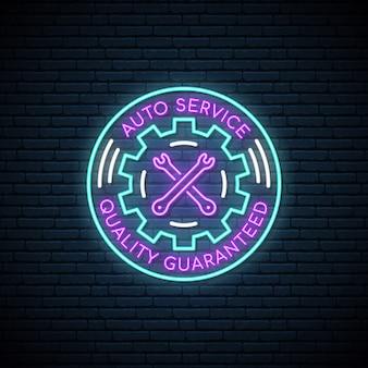 Neonowy znak auto service.