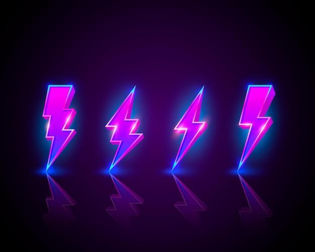 Neonowy znak błyskawicy szyldu na czarnej powierzchni.