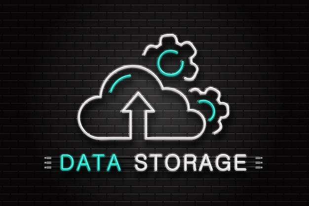 Neonowy znak chmury danych i kół zębatych do dekoracji na tle ściany. realistyczne neonowe logo do przechowywania danych. pojęcie usług komputerowych i technologii.