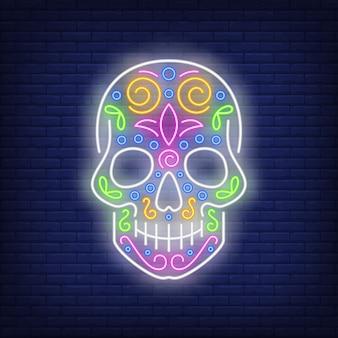 Neonowy znak czaszki cukru