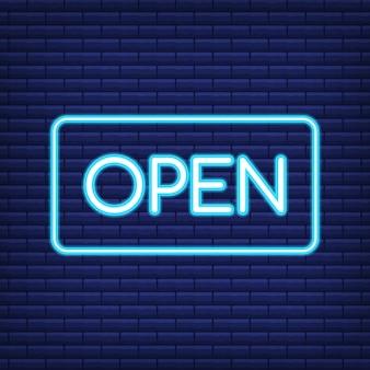 Neonowy znak deski rendering 3d. neon otwarty znak.