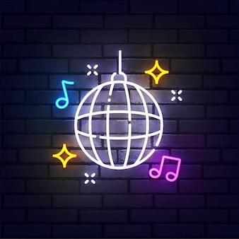 Neonowy znak disco ball, jasny szyld, jasny baner. logo klubu nocnego, emblemat. ilustracja wektorowa