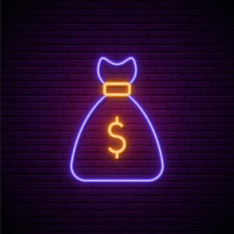 Neonowy znak dolara.