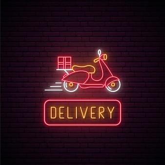 Neonowy znak dostawy dostawy