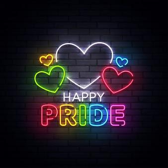 Neonowy znak dumy, jasny szyld, lekki baner. neonowe logo happy pride day, emblemat i etykieta. ilustracja
