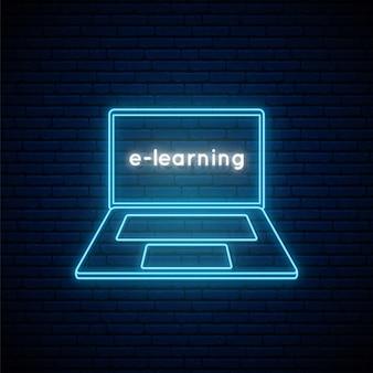 Neonowy znak e-learningowy.