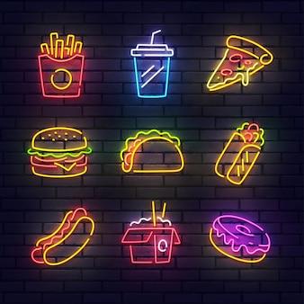 Neonowy znak fast food