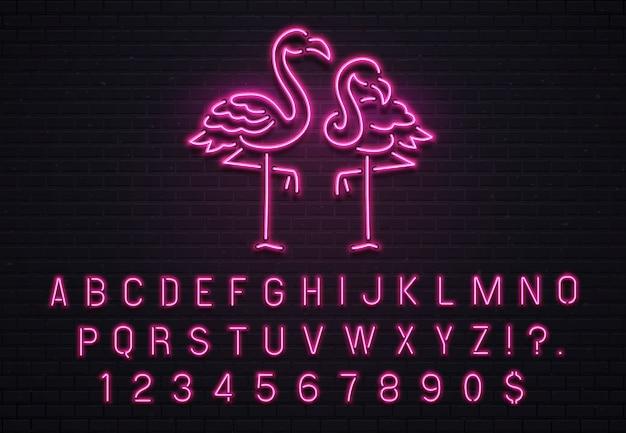Neonowy znak flamingo, czcionka pink 80s