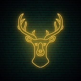 Neonowy znak głowy jelenia