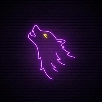 Neonowy znak głowy wilka.