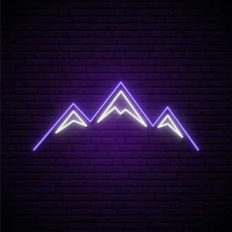 Neonowy znak gór