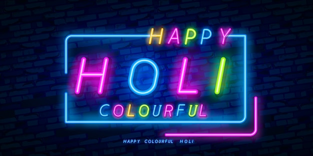 Neonowy znak happy holi