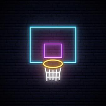 Neonowy znak kosza do koszykówki