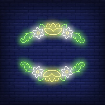 Neonowy znak kwiatowy ramki