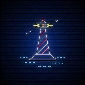 Neonowy znak latarni morskiej.