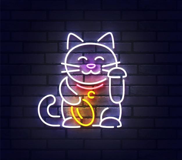 Neonowy znak lucky cat, jasny szyld japanese lucky cat