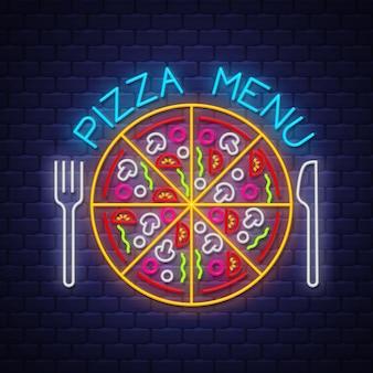 Neonowy znak menu pizzy
