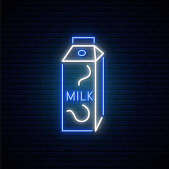 Neonowy znak mleka.