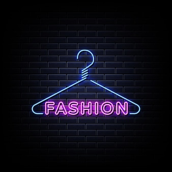 Neonowy znak mody. neonowe logo mody