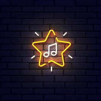 Neonowy znak muzyczny, jasny szyld, lekki baner. neon logo gwiazdy muzyki, godło. ilustracja wektorowa