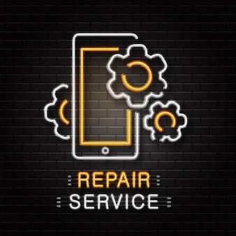 Neonowy znak narzędzi klucza do dekoracji na tle ściany. realistyczne neonowe logo do naprawy. koncepcja naprawy mechanika i samochodu.