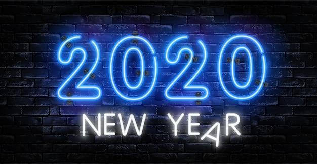 Neonowy znak nowy rok 2020
