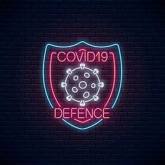 Neonowy znak obrony koronawirusa. symbol ostrzeżenia o wirusie covid-19 w stylu neonowym. ikona zatrzymania epidemii 2019-ncov
