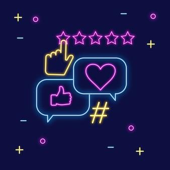 Neonowy znak obsługi klienta i ocena