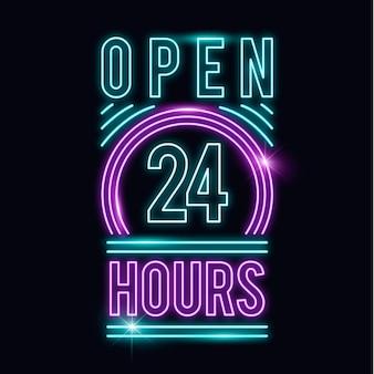 """Neonowy znak """"otwarte 24 godziny"""""""