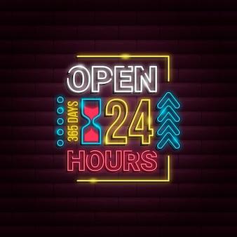 Neonowy znak otwarty 24 godziny
