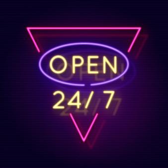 Neonowy znak otwarty przez całą dobę