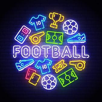 Neonowy znak piłki nożnej