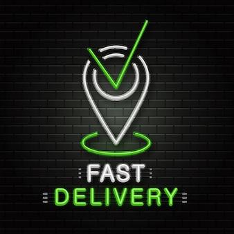 Neonowy znak pinezki mapy do dekoracji na tle ściany. realistyczne neonowe logo do szybkiej dostawy. pojęcie zawodu logistyka, transport i kurier.