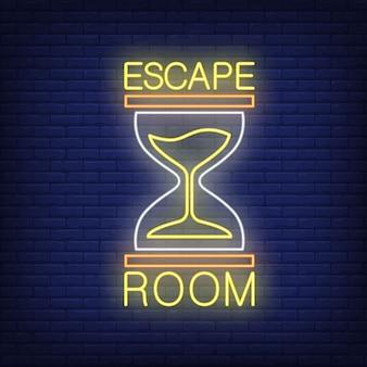 Neonowy znak pokoju ewakuacyjnego. tekst i klepsydra na ścianie z cegły