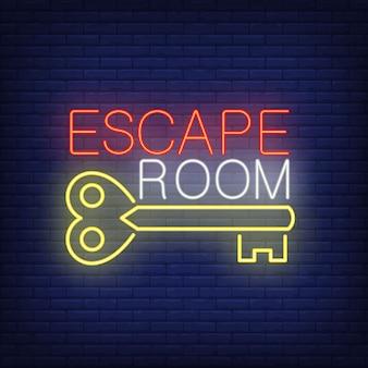 Neonowy znak pokoju ewakuacyjnego. vintage klucz i tekst na mur z cegły. świecące elementy banner lub billboard.