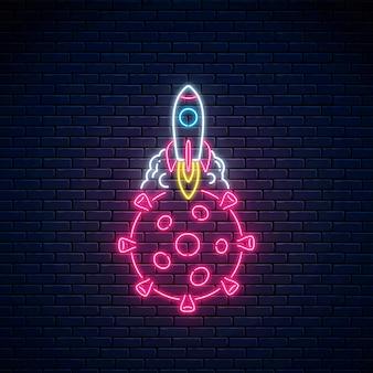 Neonowy znak pożegnania koronawirusa. rakieta startująca ze sfery wirusa covid-19.