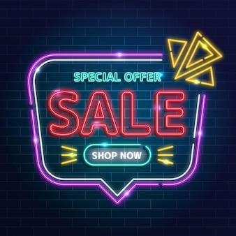 Neonowy znak promocyjny sprzedaży
