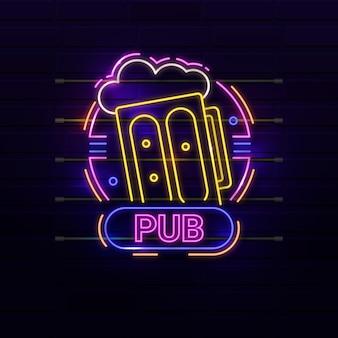 Neonowy znak pubu i restauracji