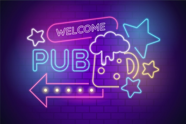 Neonowy znak pubu lub restauracji