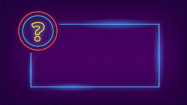 Neonowy znak quizu. blask znak zapytania i rama oświetlenia.